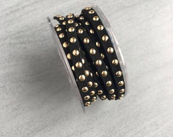 5.5 mm black gold studded suede