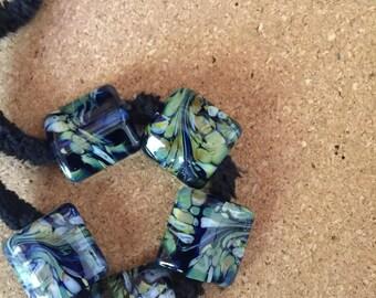 Blue Rock OOAK Lampwork glass bead set MAG