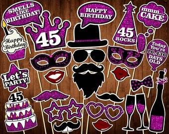 45th Birthday Photo Booth Props - Printable PDF - INSTANT DOWNLOAD - 45th Birthday Party Supplies - Purple Glitter Props