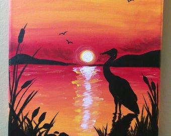 Crane Silhouette Acrylic on Canvas