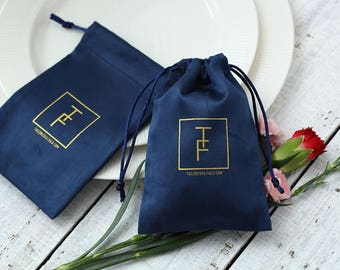 50 personalized logo print drawstring bags Flannel navy blue jewelry bag custom drawstring pouches product packaging bags wedding favor bags
