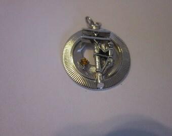 Vintage Silver Tone Telephone Pole Repairman Charm Bracelet Charm with Jewel