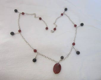 Vintage Black & Carnelian Faceted Glass with Sterling Silver Link Chain Great