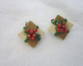 Antique Christmas Present  Early Plastic Clip on Earrings