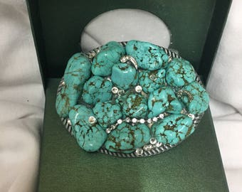 Hand made turquoise belt buckle