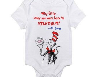 The Cat In the Hat Dr. Seuss Quote Baby Onesie