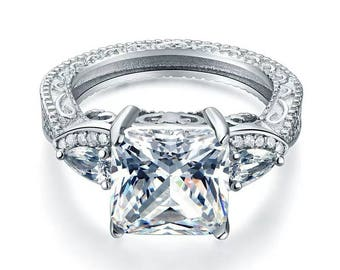 art deco engagement ring 4 ct princess cut prong set stone solid 925 sterling silver - Art Deco Wedding Rings