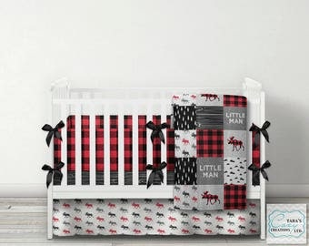Nursery Set- Designer Crib Set - Little Man Nursery Bedding - Moose Bedding - Buffalo Plaid Blanket - You choose your Items or the Full Set