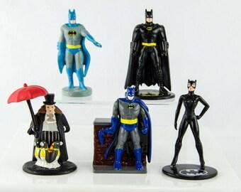 Vintage DC Comics Batman Penguin Catwoman Cake Topper Lot
