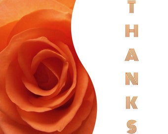 """Individual 140mm Square Blank Thank You Card  """"Thanks"""" Add own message"""