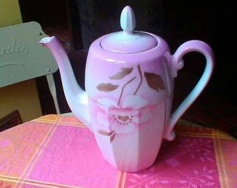 Pretty pink and white tea or coffee Pot - vintage Czechoslovakian porcelaine