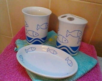 Beautiful Blue Fish Ceramic Bathroom Set   Soap Dish, Toothbrush Holder And  Tumbler
