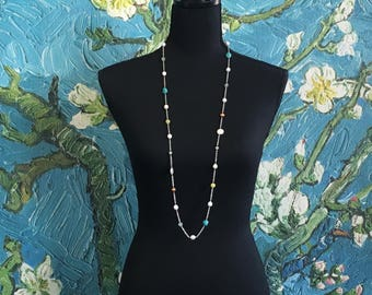 Long multi gemstone and fresh-water pearl Necklace  - sterling silver - turquoise - pearl - quartz