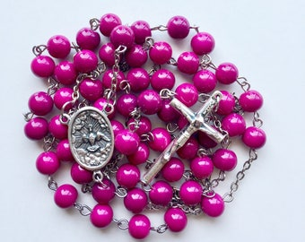 Raspberry Rosary with Case