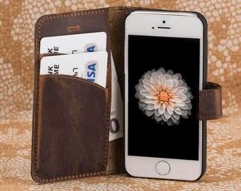 iPhone 5 Case, iPhone 5s Case, iPhone 5 Wallet, iPhone 5 Leather Case, Leather iPhone 5 Case, iPhone se Leather Wallet, Mens Gift - BROWN