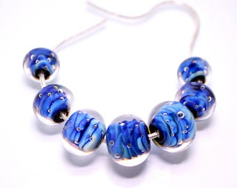 Space glass bead blue lampwork bead set artisan lampwork jewelry making bead handmade art glass bead rondelle lampwork bead bracelet making