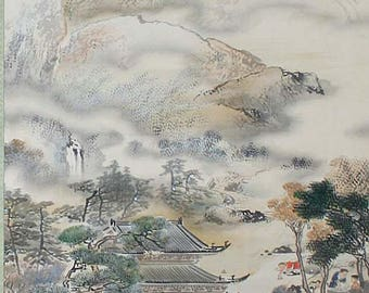 Chinese painting, scroll with landscape and children
