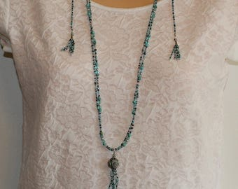 Full of Tassles Turquoise Spring Summer Necklace