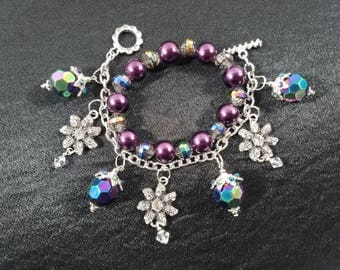 Victorian style charm bracelet and beaded bracelet together in gorgeous hues of purple and green