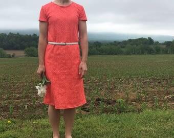 Coral Nylon/Lycra Knit Lining Floral Lace Overlay Shift Dress -Medium
