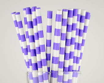 Violet Circle Paper Straws - Mason Jar Straws - Party Decor Supply - Cake Pop Sticks - Party Favor