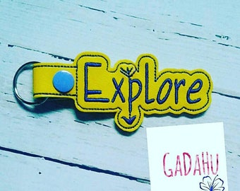 Explore Key Fob Snap Tab Embroidery Design 4X4 size. Travel Key chain Digital design