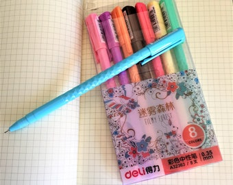 Gel Pen Set - Filmy Forest 8 Pens - 0.35mm Deli Colour Fineliner Tips - Planner Bullet Journals Geometric Barrel - Kawaii Stationery Korean