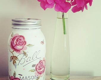 Hand Decorated Emma Bridgewater Style Rose & Bee Mason KilnerJar Vase
