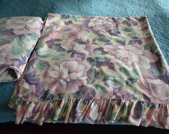 Vintage King Sheet Set Flat Fitted Floral Ruffle Pink Purple Green
