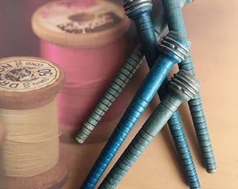 Vintage Blue Wood Bobbins, Antique bobbins, Antique Manufacturing bobbins, Wooden Bobbins, Old Wood Spools