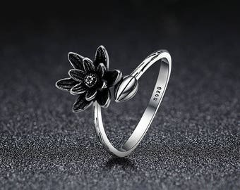 genuine 925 sterling silver lotus flower open finger ring for women fine jewelry gift for women - Lotus Wedding Ring