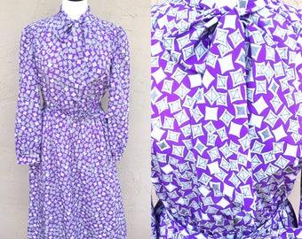 SALE!!Vintage 80s Southern Lady Dress/ Vintage Secretary Dress/ Vintage Dress with Bow/ Rad 80s Dress/ Vintage Purple Dress