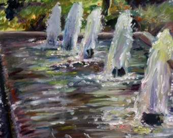 Fountain FRAMED OIL PAINTING