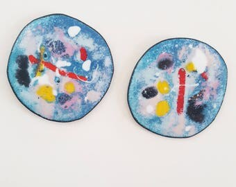 enamel on copper earrings - andromeda discs