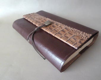 For books of 18cm height, book adaptable Brown cowhide leather dark.