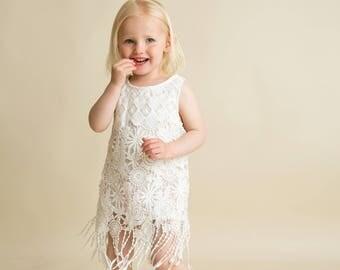 Boho Flower Girl Dress, Toddler Dress, Lace Dress, Crochet Fringe Dress, Country Flower Girls Dress, Chidrens Dress, Rustic Flower Girl