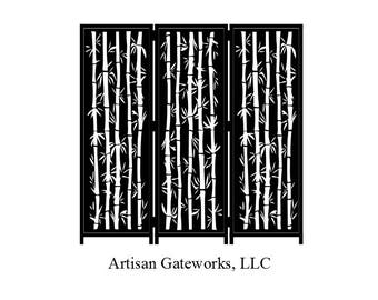 Modern Room Divider - Bamboo - Decorative Steel Privacy Screen- Privacy Wall - Custom Room Divider - Handmade