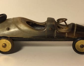 Hand Carved Horn Vintage Race Car