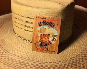 Bailey U-ROLLIT Straw Cowboy Hat from BAR-B-Q Ranch, Post Falls, Idaho with Original Unused 23k Gold Goldmark Brandin' Iron Card