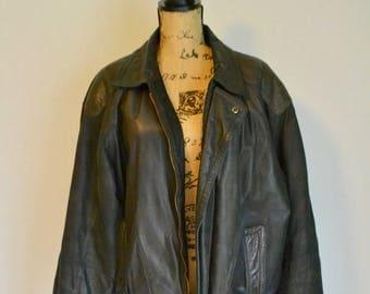 VINTAGE - 80s Genuine Leather Bomber Jacket