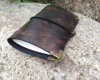 Notes field cover antique real leather 7cmx14cm handmade vintage