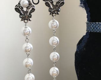 5 pearl drops and silver earrings