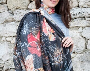 chiffon  scarf, shawl, scarves, woman scarf, Gift for her, Gift for women, gift, scarf for women, paint scarf, beautiful scarf, floral scarf