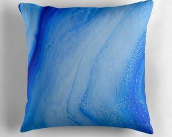Original Art Print Throw Cushion. Pre Order, Custom Order. Ocean Waves.