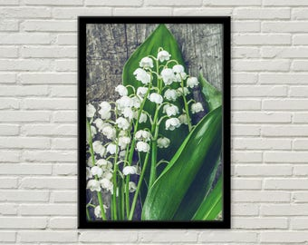 Handmade White Lilies of the Valley colour print