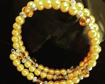 Golden Glass Beaded Bracelet