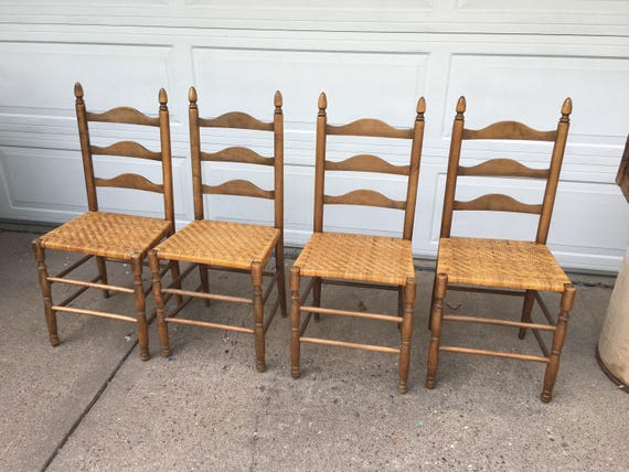 Like this item? - Vintage Antique Ladder Back Chairs With Rush Seats Lot Of 4