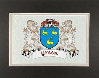 "Green Irish Coat of Arms Print - Frameable 9"" x 12"""