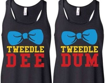 Tweedle Dee & Tweedle Dum Racerback Tank Top Set / Ladies and Unisex Sizes