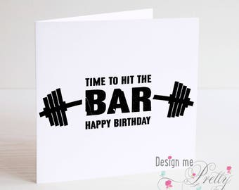 Hit The Bar Birthday Card - Bodybuilding Gym muscles